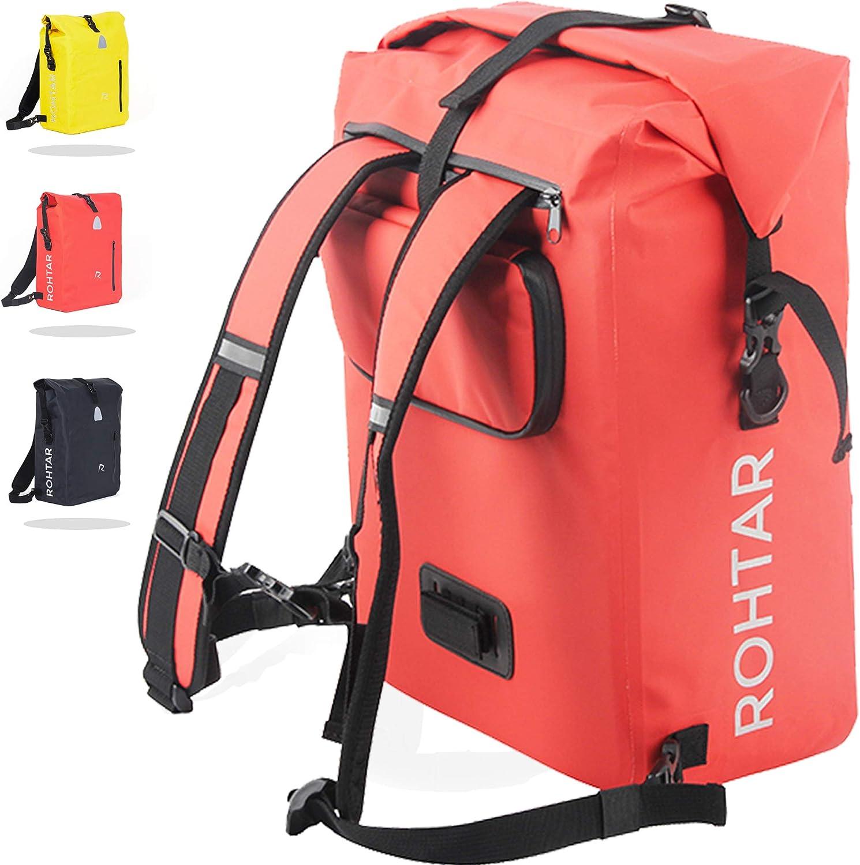 Rohtar - Mochila mensajera impermeable - Bolsa 3 en 1 de 18 o 25 litros, mochila, portabicicletas de viaje - Mochila para bicicleta de montaña - Correas ajustables, correas de manillar, cremalleras oc