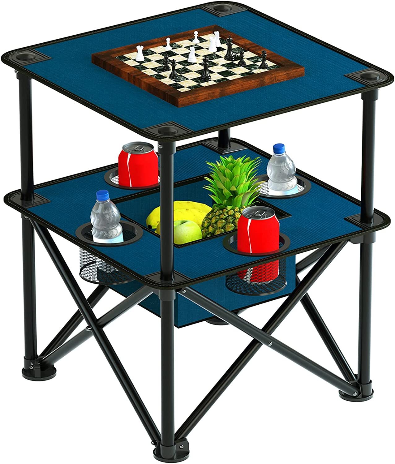 Folding Camping Table Portable Outdoor Camp Side Table Lightweight Square Picnic Table with Built-in 4 Cup Holders and Food Basket and Travel Bag for Barbeque Picnic Camping and Tailgate Blue