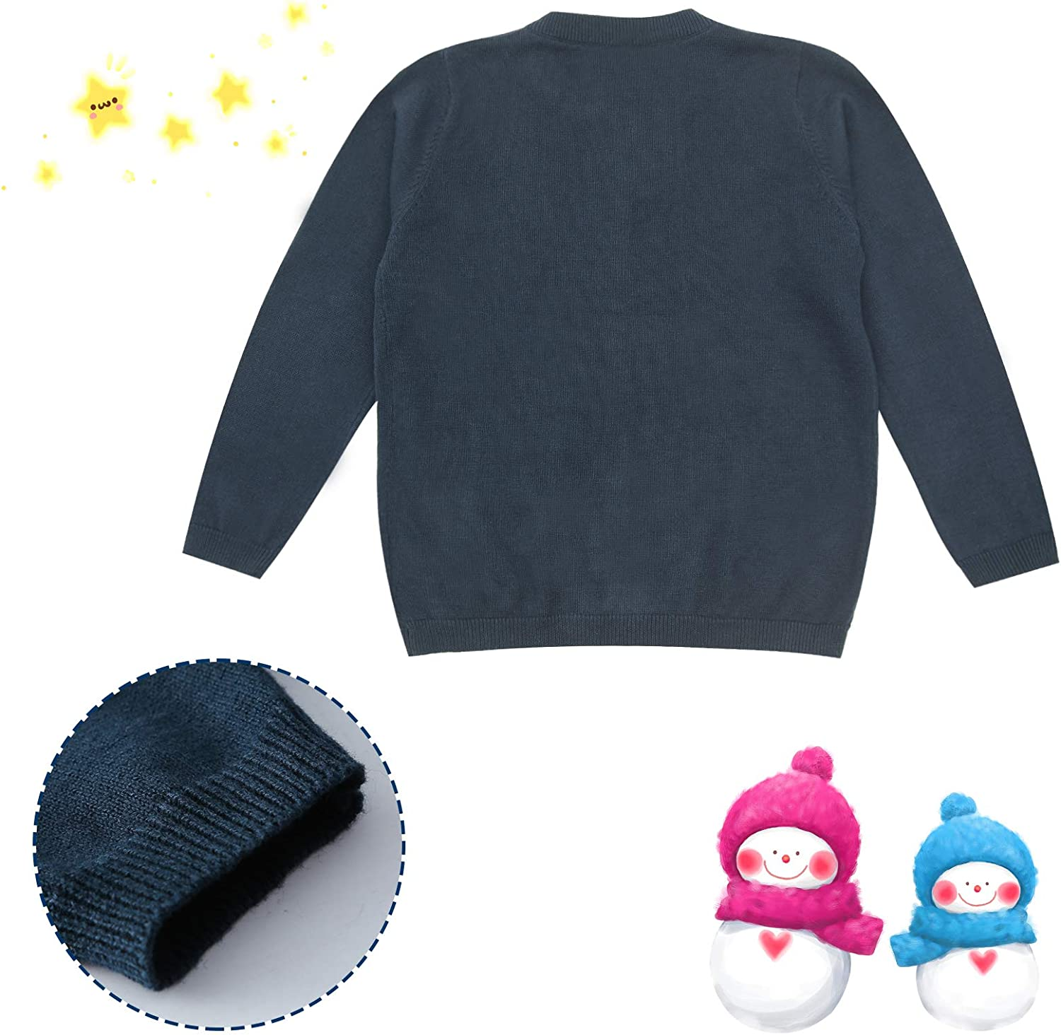 Toddler Boy Cotton Knit Cardigans with Long Sleeve Baby Girl Button Sweater Crew Neck Outwear