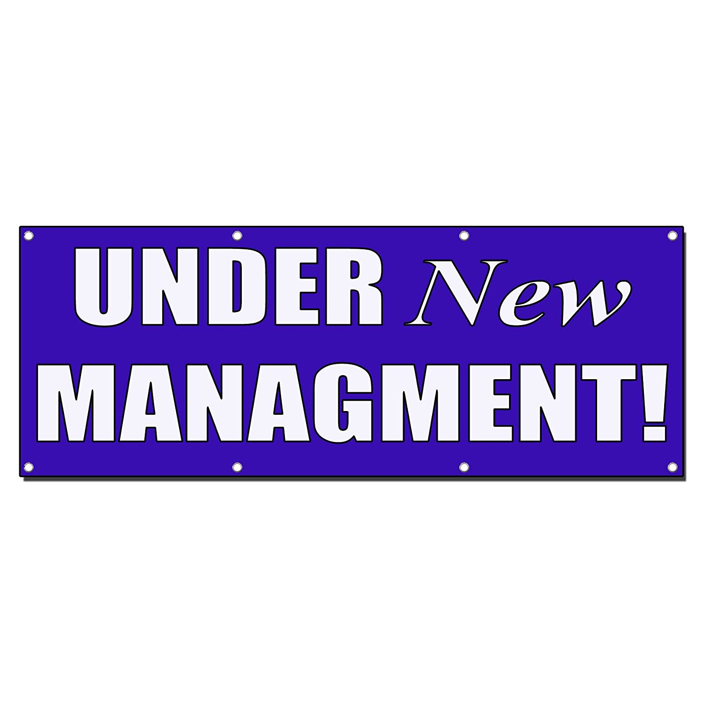 Under New Management Purple Banner Sign 5 Ft X 10 Ft W//10 Grommets