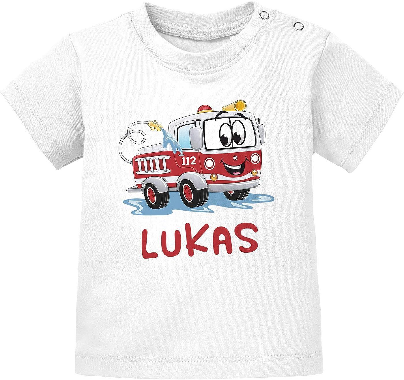Baby T-Shirt mit Namen personalisiert Feuerwehr-Auto Namensgeschenke kurzarm