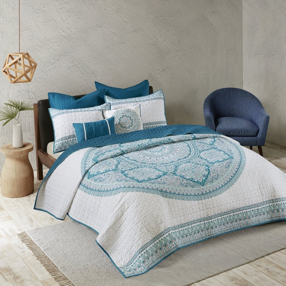 7 Piece Blue Grey Medallion Coverlet Full Queen Set, Pretty Bold Boho Chic Bohemian Bedding