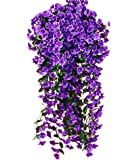 Remeehi Artificial Flower Wisteria Basket Hanging Flowers Violet Simulation Vine Wedding Home Decoration 5petals Purple