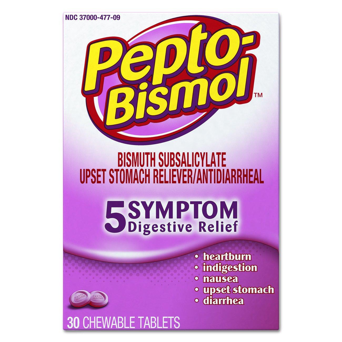 Pepto-Bismol 03977 Chewable Tablet, original Flavor, 30 Per Box, Pack of 24