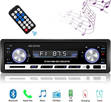 1 Din Radio de Voiture 4x60W Poste Radio 7 Couleurs FM St/ér/éo Radio USB//SD//AUX//EQ//Lecteur MP3 Autoradio Autoradio Bluetooth