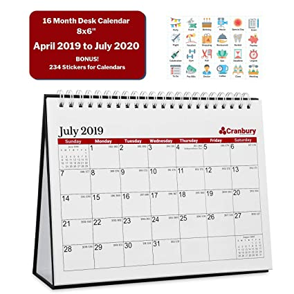 Table Calendar 2020 Amazon.: Desk Tent Calendar 2019 2020 (8x6