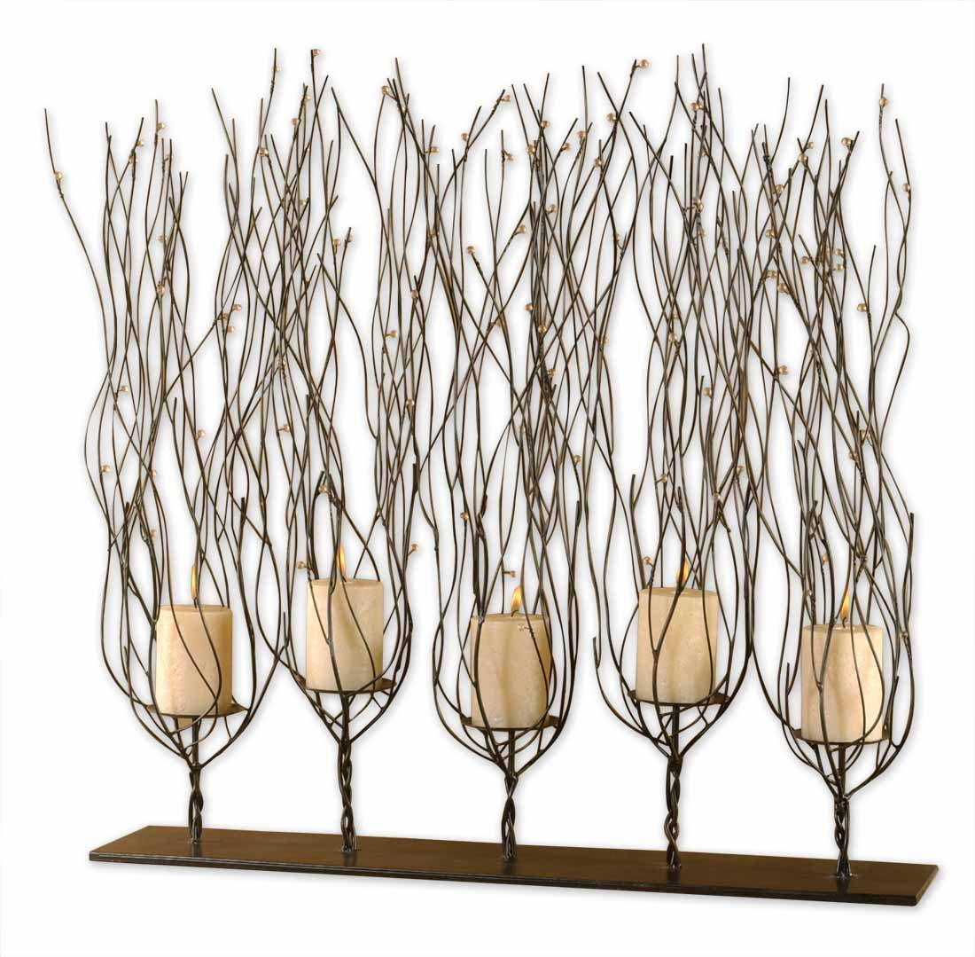 Dark Brown Fedora Trees Candleholder With Clear Bead Accents