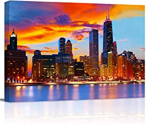 "Canvas Wall Art - Chicago Skyline at Dusk Gallery - Modern Wall Decor Gallery Canvas Wraps Giclee Print Stretched and Framed Ready to Hang - 12"" x 16"""