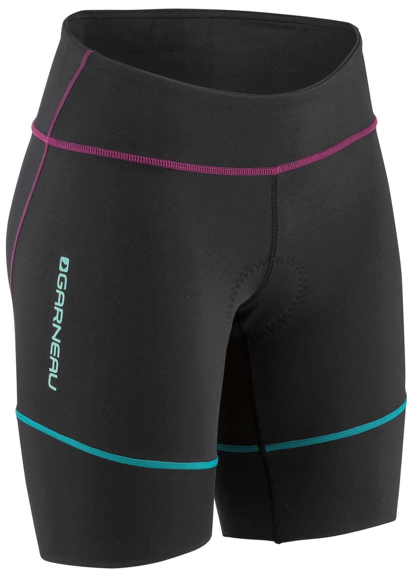 Louis Garneau Women's Tri Comp Triathlon Shorts, Black/Purple/Green, X-Large
