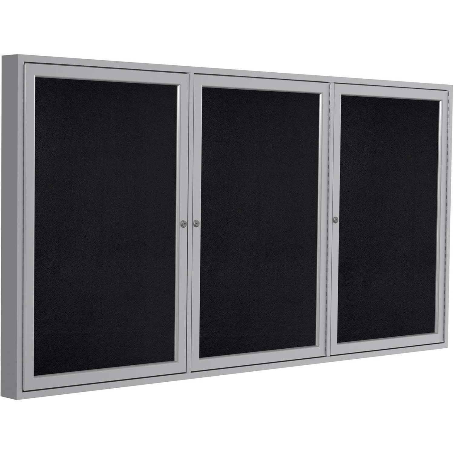 Ghent 36''x72'' 3-Door indoor Enclosed Recycled Rubber Bulletin Board, Shatter Resistant, with Lock, Satin Aluminum Frame,Black (PA33672TR-BK) ,Made in the USA