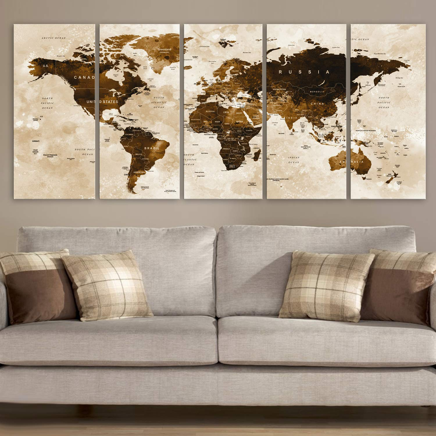 "Original by BoxColors Xlarge 30""x 70"" 5 Panels 30x14 Ea Art Canvas Print Watercolor Brown Map World Push Pin Travel Wall decor Home (framed 1.5"" depth) M1801"