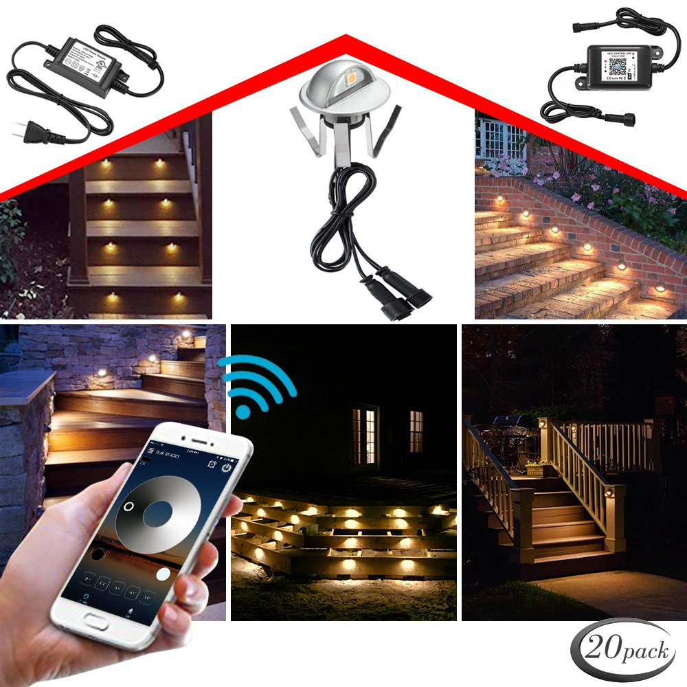 WiFi Deck Lights, FVTLED WiFi Controlled 20pcs Low Voltage LED Deck Lights Kit Φ1.38'' Outdoor Recessed Step Stair Warm White LED Lighting Work with Alexa Google Home, Silver by FVTLED (Image #1)