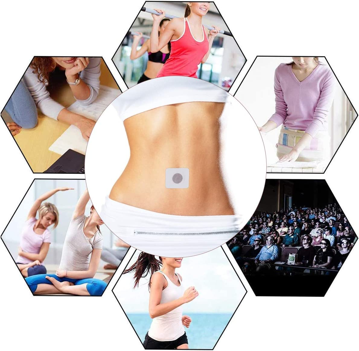 Weight Loss Sticker Charminer Fat Burning Sticker Magnetic Navel Sticker Quick Slimming Patch for Beer Belly Buckets Waist Waist Abdominal Fat Keep Healthy and Beauty 40Pcs-Black