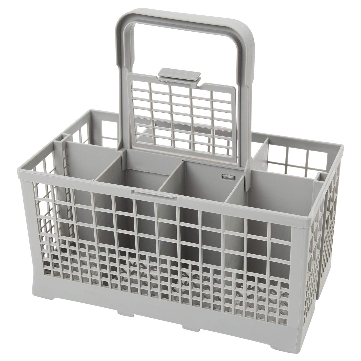 "Houseables Dishwasher Utensil Basket, Cutlery Rack, 9.45"" x 5.5""x 4.7"", Gray, Plastic, Replacement Silverware Caddy, Universal Organizer, Tray with Handle, Container for Small Items, Flatware Holder"
