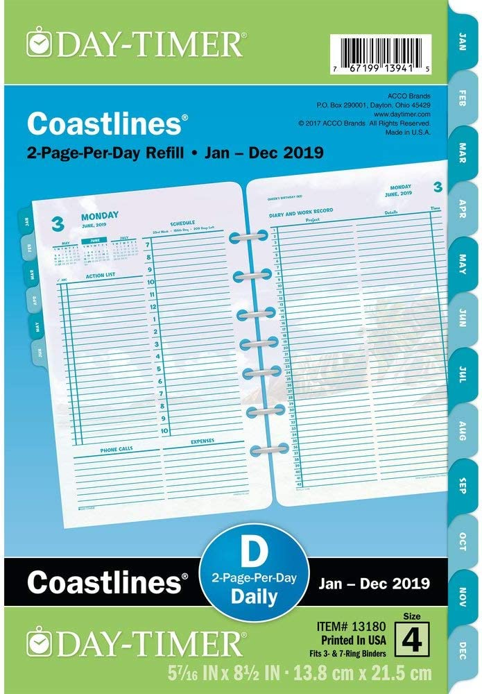 """Day-Timer 2020 Daily Planner Refill, 5-1/2"""" x 8-1/2"""", Desk Size 4, One Page Per Day, Loose Leaf, Coastlines (13171)"""