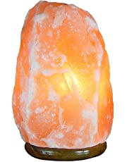 Natural Himalayan Crystal Salt Lamp with Wooden Base, Bulb & Dimmer Switch - Authentic Hand Crafted - Pink/Orange
