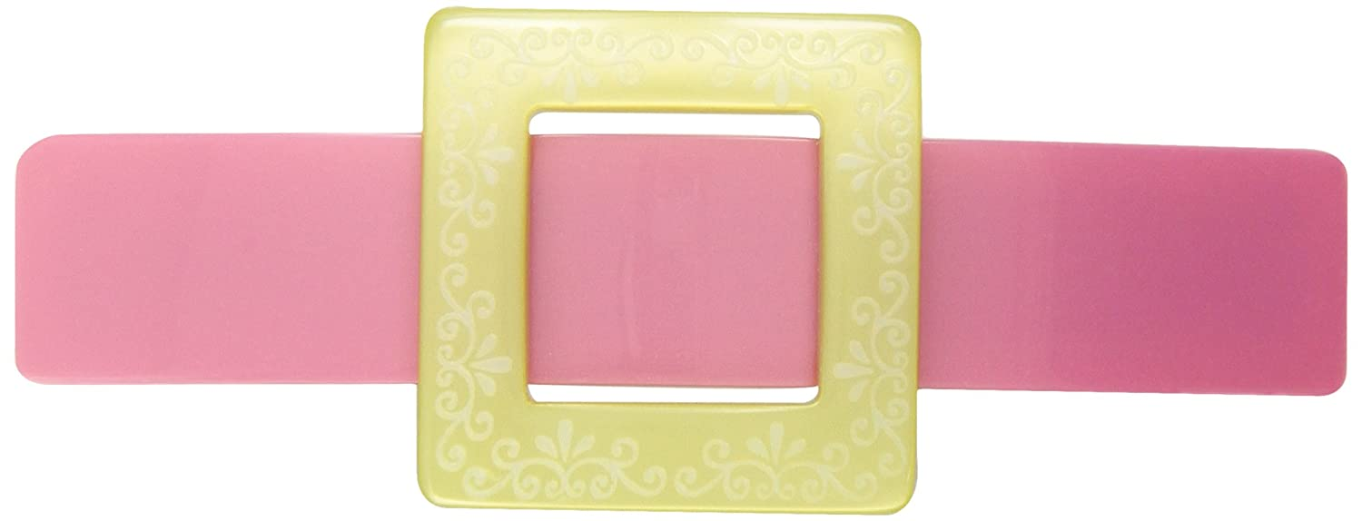 Caravan Young and Class Engraved Cream Buckle On Pink Slide Look Barrette 2058