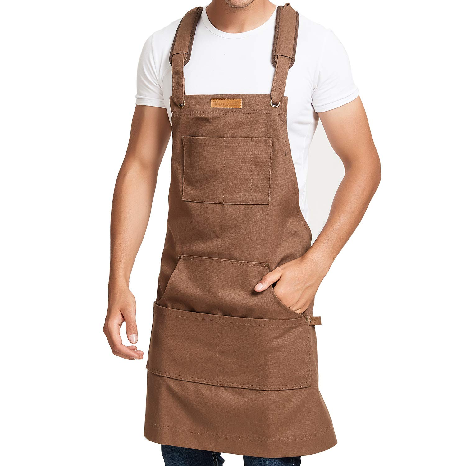 Waxed Canvas Shop Apron Men Kitchen Apron with Shoulder Pads Plus Tool Pockets and Hammer Loops Waterproof & Protective for Home, Garden, Carpenter, Machinist, Blacksmith by yotache (Image #1)