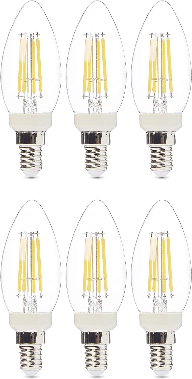 AmazonBasics Professional - Bombilla pequeña de tipo Edison LED, casquillo E14, equivalente a 40W, vidrio de filamento transparente, regulable - juego de 6