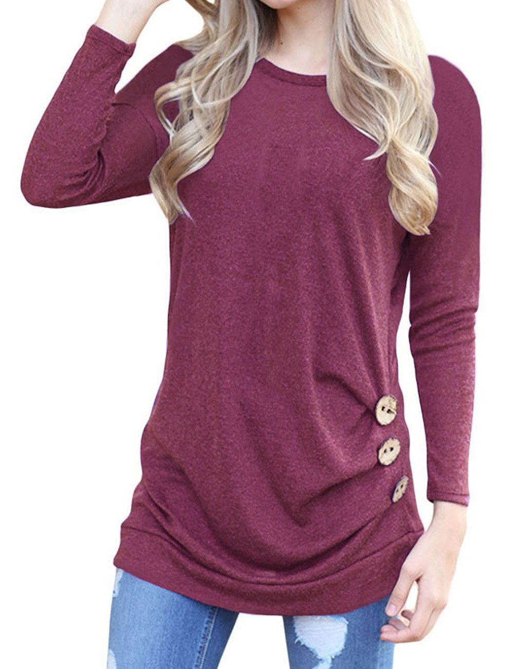 Simaier Women Loose Casual T Shirt Plain Cotton Round Neck Girls Tops JXX0020