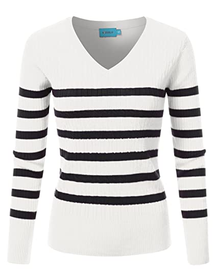 1d2cec684e Doublju Slim Fit Twisted Cable Knit V-Neck Sweater For Women at Amazon  Women s Clothing store