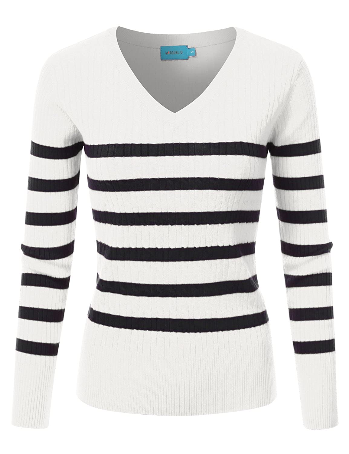 Awoswl0221_whiteblack Doublju Slim Fit Twisted Cable Knit VNeck Sweater For Women