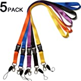 5 Pack Office Neck Lanyards with Detachable Buckle Enhanced Model Hook and Quick Release Tether Ideal for ID Badges,Keys,Cell Phones USB Sticks Whistles-Strong Nylon(Black,blue,yellow,orange,purple)