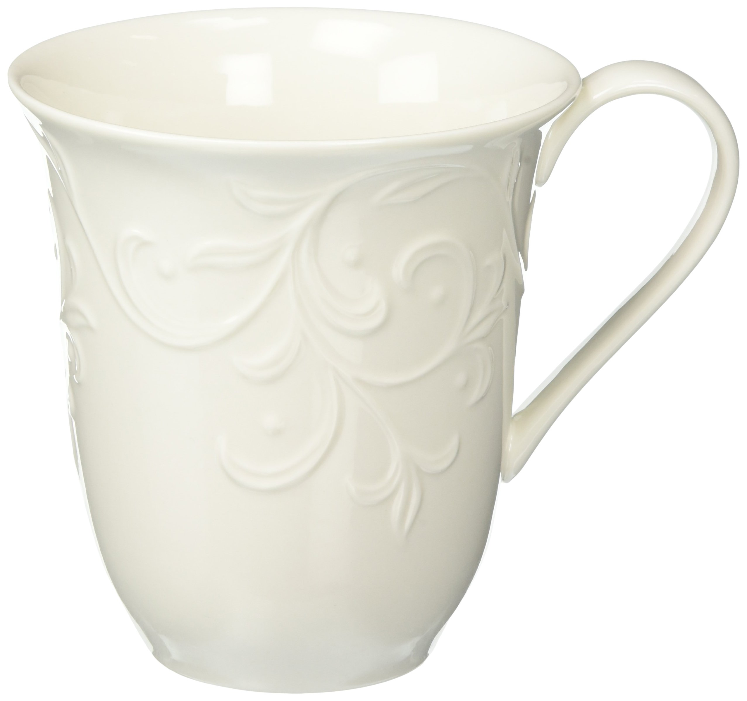 Lenox Opal Innocence Carved Mugs, White by Lenox