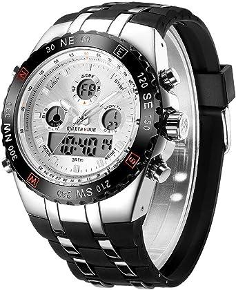 Reloj Digital Deportivo para Hombre, analógico, Resistente al Agua, cronógrafo, Reloj de Pulsera para Hombre con Correa de Silicona Negra (Blanco): Amazon.es: Relojes