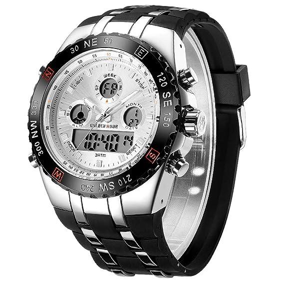 Reloj Digital Deportivo para Hombre, analógico, Resistente al Agua, cronógrafo, Reloj de Pulsera para Hombre con Correa de Silicona Negra (Blanco)
