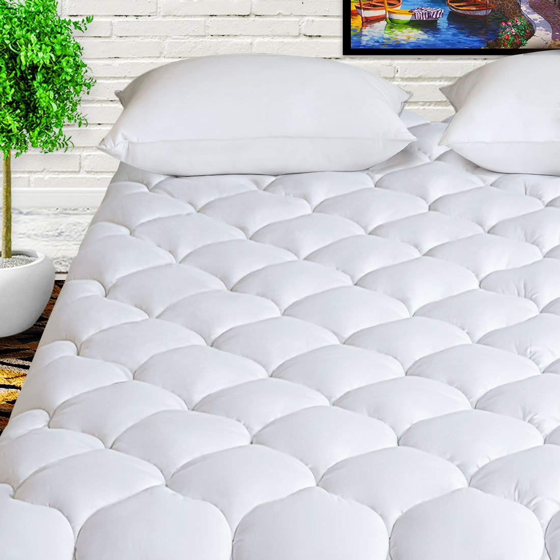 HARNY Mattress Pad Cover Cal King Size 400TC Cotton Pillow Top Cooling Breathable Mattress Topper Quilted Fitted with 8-21'' Deep Pocket