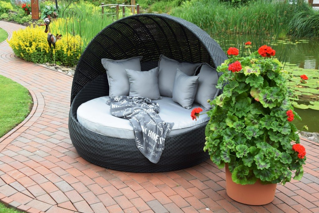 sonneninsel polyrattan rattan wt 6001 lounge wellness schwarz festes dach bestellen. Black Bedroom Furniture Sets. Home Design Ideas