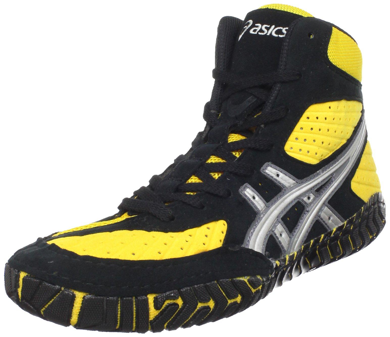 ASICS Men's Aggressor Wrestling Shoe,Yellow/Silver/Black,11.5 M US
