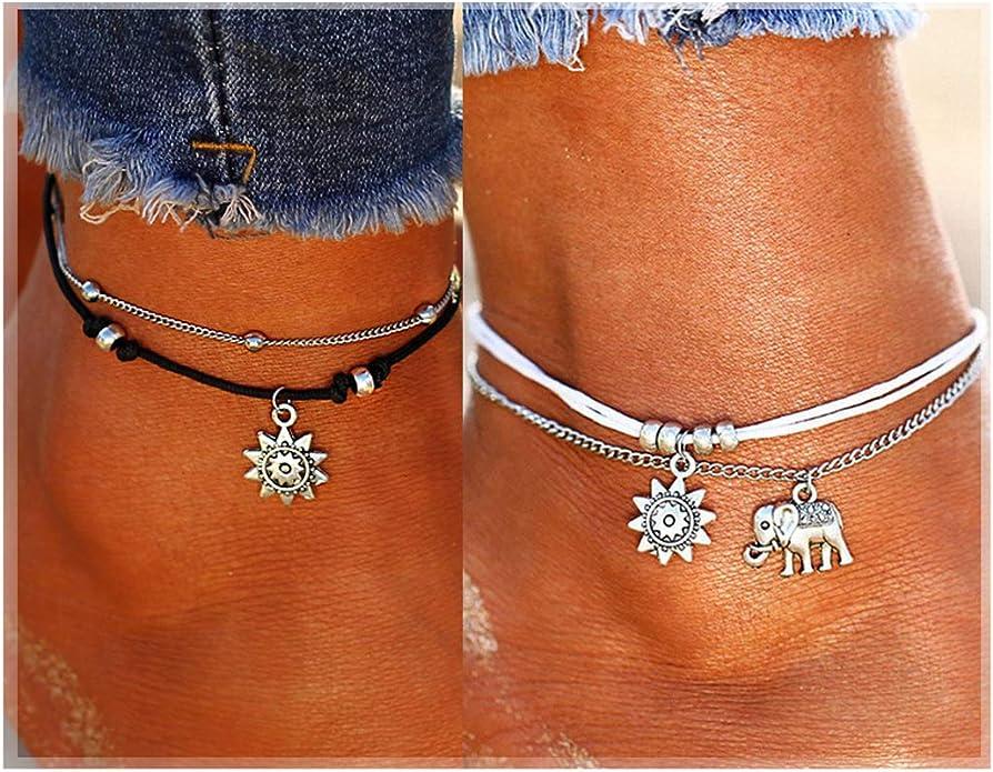 Elephant anklet ankle bracelet vegan anklet charm anklet grunge anklet boho anklet hippie anklet beach anklet gift elephant gift.