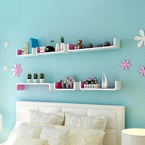 Estante de pared de 45,99 cm x 8,99 cm//34,97 x 7,97 Estante de pared de madera blanca curvada Viene con accesorios de instalaci/ón