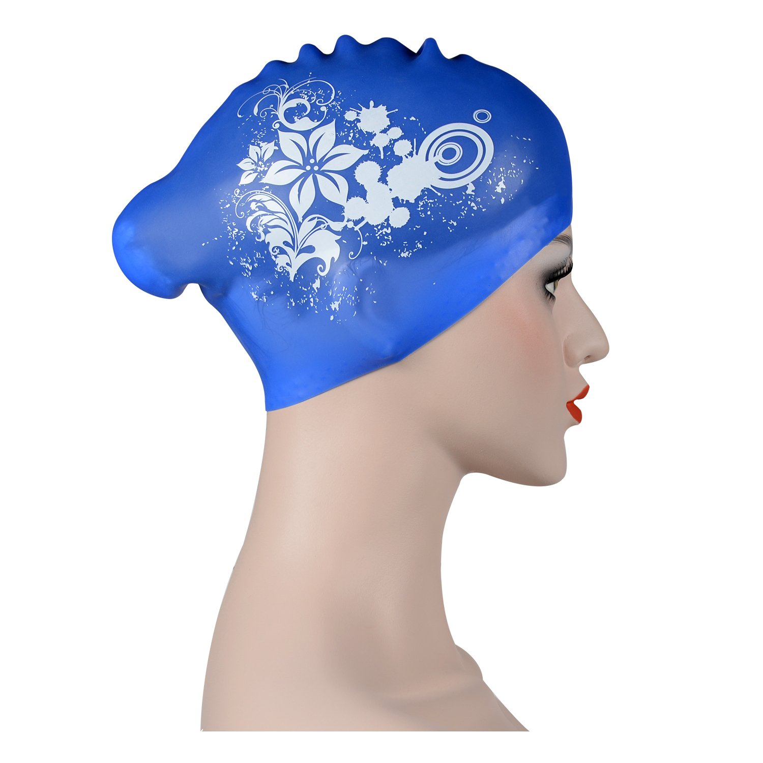 RONHAN Large Silicone Swimming Caps for Adults Women Men Girls boys, kids Swimming hat for Long Hair,Thick Hair,Curly Hair, Dreadlocks, Ear Wrap Shower Cap Keeps Hair Dry