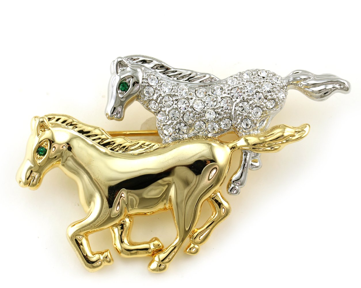 Dual Race Horse Mustang Pin Brooch Clear Rhinestones Two Tone Animal Lover Jewelry