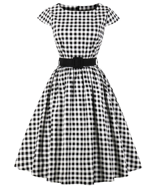 ZAFUL Women's 1950s Vintage Cap Sleeve V Neck Plaid Swing Dress with Pockets (S, Black with Belt) by ZAFUL