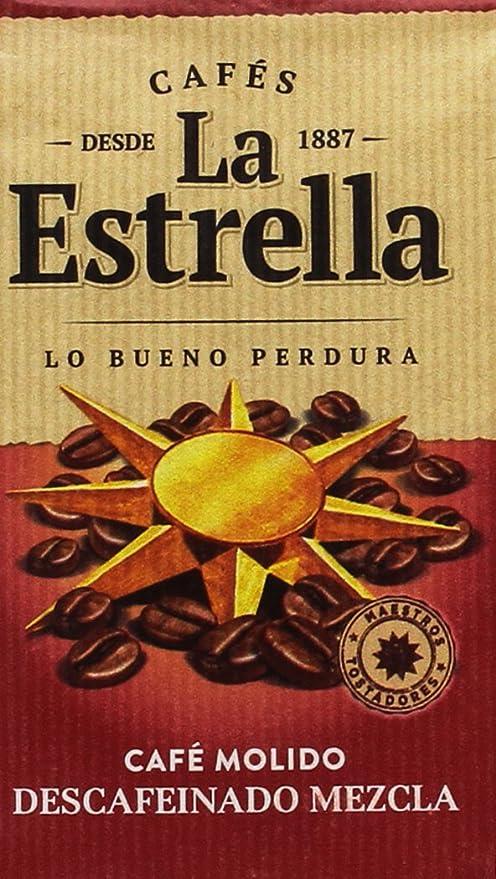 La Estrella - Café Molido Descafeinado Mezcla - Pack de 4 x 250 g