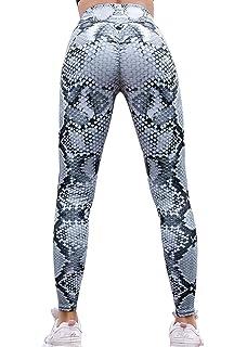 67d2e5e28dac8e VNVNE Women's High Waist Ruched Butt Lifting Snakeskin Printed Yoga Pants  Sports Workout Running Leggings (