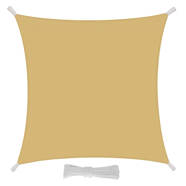 tissu en poly/éthyl/ène r/ésistant et imperm/éable de couleur sable 5x5 m sable voile drap pour ext/érieur protection contre les rayons UV Eglemtek Toile pare-soleil carr/ée