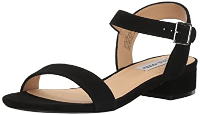 Steve Madden Women's Cache Flat Sandal, Black Suede, ...