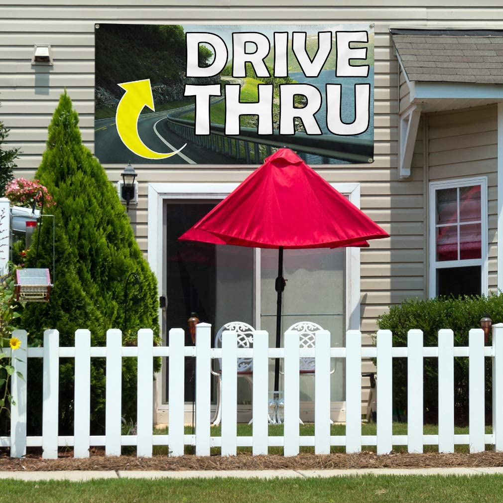 Vinyl Banner Multiple Sizes Drive Thru L Outdoor Advertising Printing Business Outdoor Weatherproof Industrial Yard Signs 8 Grommets 48x96Inches