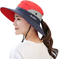 40cc7f36a1d Muryobao Women s Outdoor UV Protection Foldable Mesh Wide Brim Beach  Fishing Hat