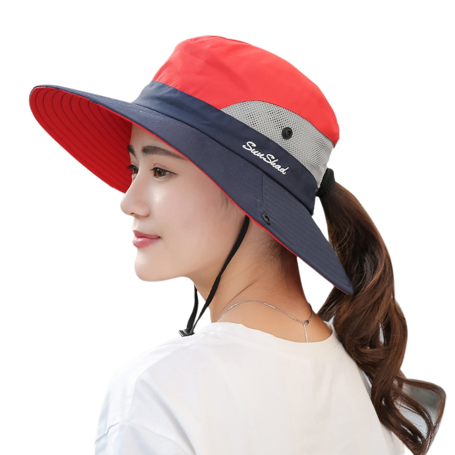 dbb2d7754cd6f Muryobao Women s Sun Hat Outdoor UV Protection Foldable Mesh Bucket Hat  Wide Brim Summer Beach Fishing Cap Red Navy