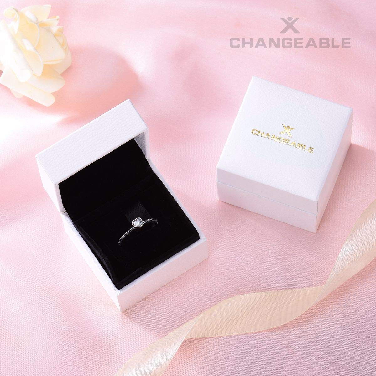 Changeable Solitaire Promise Rings - White Crystals, Solid 925 Sterling Silver # Size 6 (Soul Heart) by Changeable (Image #7)