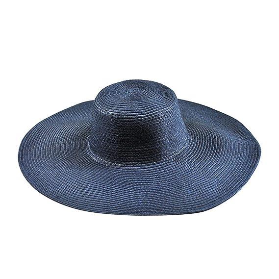 Fabseller mujeres verano playa gorra sombrero para el sol cresta amplio  grande flexible orde paja jpg b75a41a27eb