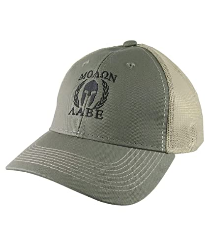 30ad9545a42 Molon Labe Roman Spartan Warrior Mask in Laurels Black Embroidery on an  Adjustable Olive Green Structured Truckers Style Snapback Ball Cap   Amazon.ca  ...