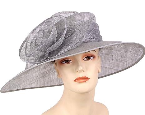7a9b85db298 Ms Divine Women s Sinamay Wide Brim Kentucky Derby Hat