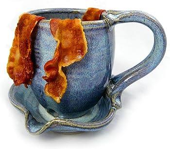 Modern Artisans Hand-Sculpted Stoneware Microwave Bacon Cooker Mug
